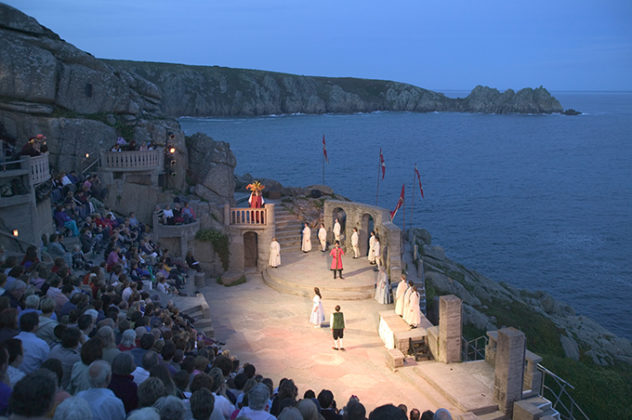 A play in progress at dusk at the Minack Theatre, porthcurno, West Cornwall | photos of Cornwall | Cornwall photos | beautiful Cornwall