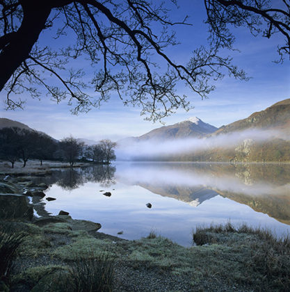 Mist over Llyn Gwynant and Snowdon, Snowdonia National Park, Conwy, Wales, United Kingdom, Europe
