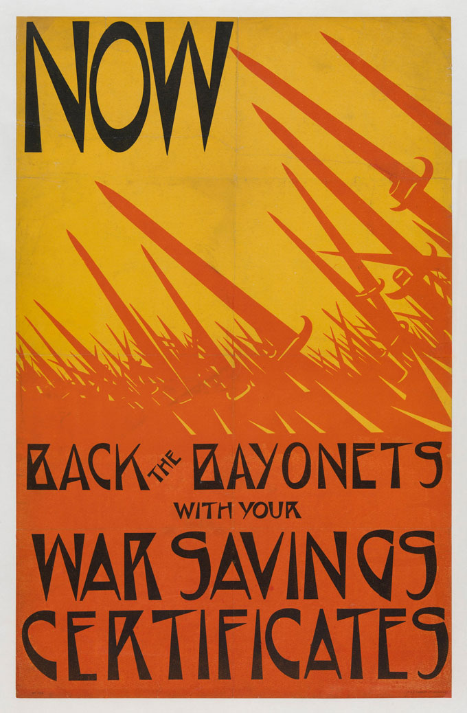 Now-Back-the-Bayonets,-1916,-lithographic-poster,-75-x-48-cm.-Courtesy-of-Osborne-Samuel