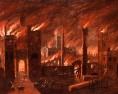oil painting, fire, great fire, great fire of london, london, museum of londo