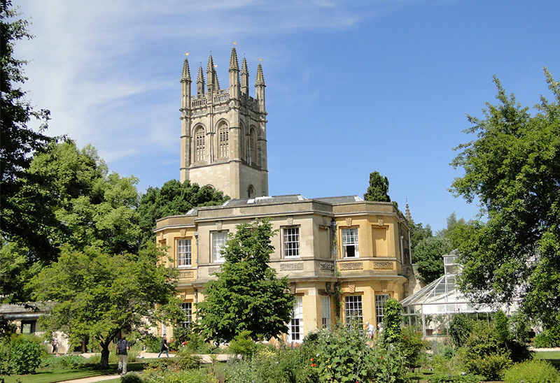 Oxford Botanic Garden, with Magdalen Tower. Credit: Visit Britain