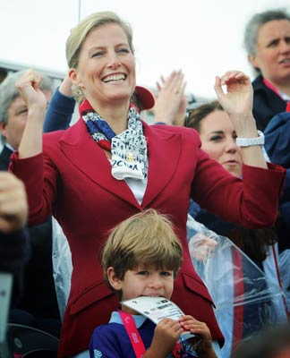 The Countess of Wessex and her son Jmaes, Viscount Severnwatch the rowing finals at Eaton Dorney during the Paralympic Games