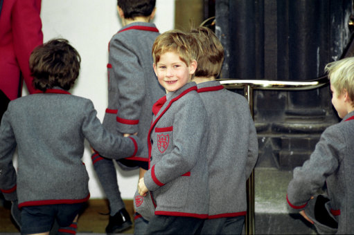 Prince Harry arriving for a school carol concert at St Matthew's church, London in 1999. Photo credit: Martin Keene/PA Wire