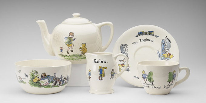 Christopher Robin ceramic tea-set presented to Princess Elizabeth, hand- painted, Ashtead Pottery, 1928 Photograph: Royal Collection Trust