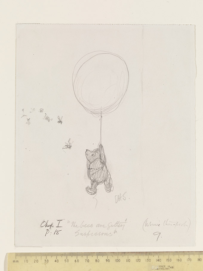 'The bees are getting suspicious', Winnie-the-Pooh chapter 1, pencil drawing by E. H. Shepard