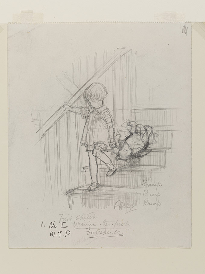 'Bump, bump, bump', Winnie-the-Pooh chapter 1, pencil drawing by E. H. Shephard, 1926