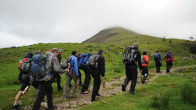 Heading up Scafell Pike to light the English National Flame during the Paralympic Torch Relay