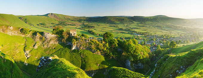 A view of Peveril Castle in the Peak District at dawn. Peak District Photos