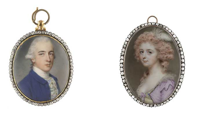 John Smart 'Portrait of Richard Twining' & 'A Lady, wearing a low-cut pearl-bordered yellow'.  Image Credit: Philip Mould & Co