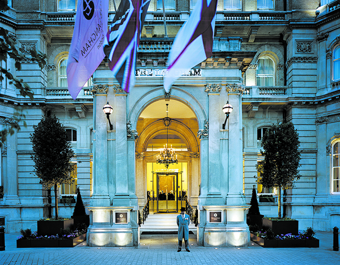 Port Cochere at The Langham hotel, London. Hotels in central London