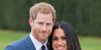 Prince Harry and Meghan Markle at a photocall for their engagement in the Sunken Gardens at Kensington Palace, London, 27 November 2017