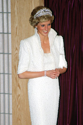 The Princess of Wales wears her 'Elvis dress' during a visit to the Culture Centre in Hong Kong. Credit: Tim Graham/Getty Images | Princess Diana: fashion icon | Diana, her fashion story