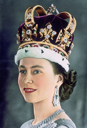 Queen Elizabeth II wearing St Edward's Crown, part of the Crown Jewels of England, at her coronation in 1953