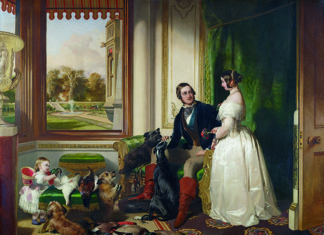 WQueen Victoria and Prince Albert in a painting by Edwin Landseer depecting the couple at Windsor Castle