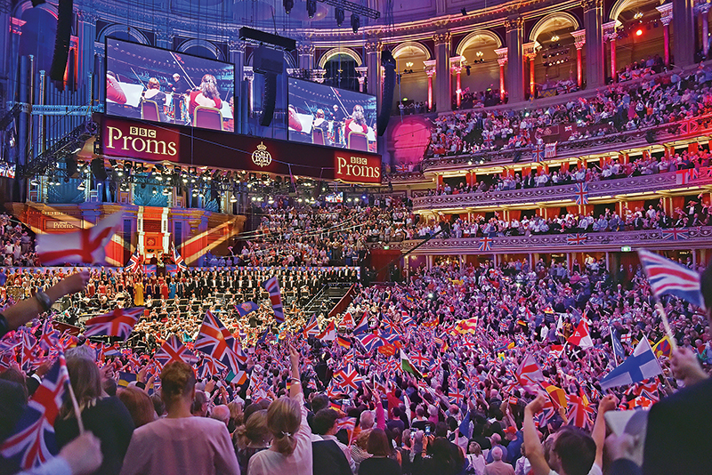The audience at the Last Night of the Proms at the Royal Albert Hall