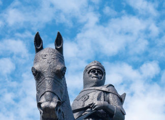 A statue of Robert the Bruce outside Bannockburn Heritage Centre in Stirling, Scotland