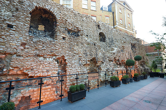 London Wall, built by the Romans, stretched for two miles around the city | Roman London | Romans