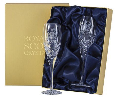 Royal Wedding Souvenirs -Royal Scot Crystal Champagne Flutes