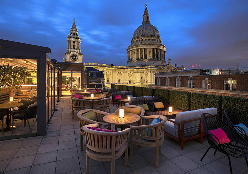 The terrace of Sabine has a stunning view of St Paul's Cathedral