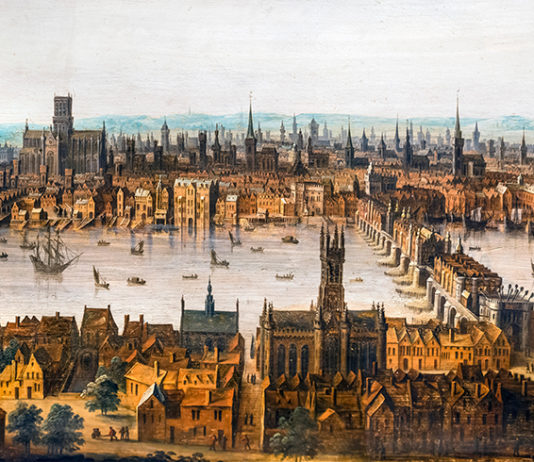 London from Southwark, c.1630. Old London Bridge is in the right foreground and old St Paul's Cathedral on the skyline to the left. This is one of the few remaining pictures showing the city before the Great Fire. photoS: Credit: Digital Image Library / Alamy