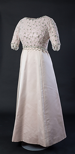 Silver Jubilee 1977 dress, designed by Hardy Amies. Credit: Historic Royal Palaces/Courtesy of Lord Linley & Lady Sarah Chatto