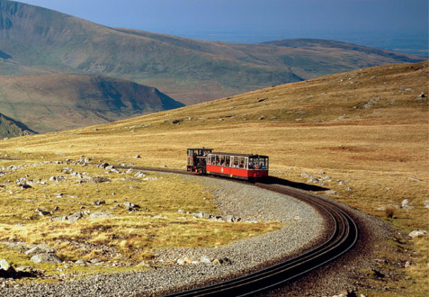 Snowdon Light Railway from Small Island by Little Train. Image courtesy of of AA&Steve Lewis