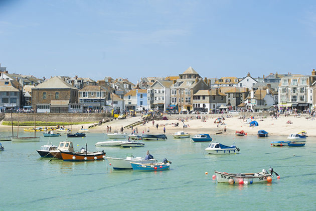 Boats moored off the Town Beach at St Ives. Photos of Cornwall | Beautiful Cornwall