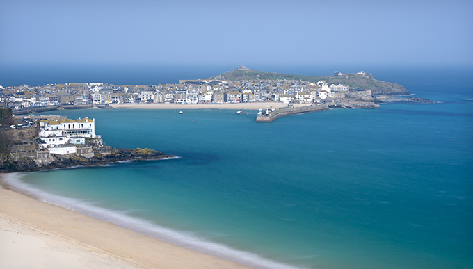 St Ives town and harbour viewed from above Porthminster beach. Beautiful beaches of Cornwall