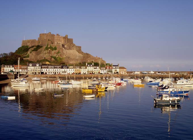 Mont Orgueil Castle, overlooking the harbour of Gorey, on Jersey