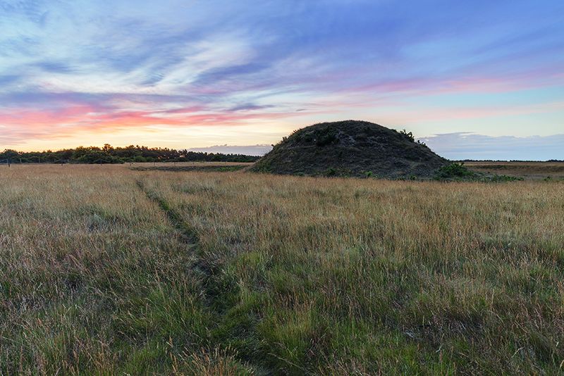 Sunset over the famous burial mounds at Sutton Hoo, Suffolk © National Trust Images/Justin Minns