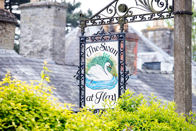 The Swan at Hay-on-Wye signpost, cosy inn in the literary town of Hay-on-Wye, Wales