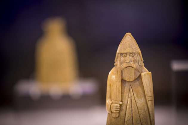 The Lewis Chessmen in Lews Castle Museum, Isle of Lewis, Outer Hebrides, Scotland. Beautiful photos of Lewis and Harris