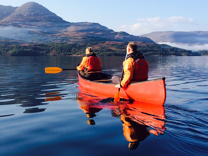 Sea-kayaking at the Torridon Scotland. Activities are free to guests of the Torridon Hotel, Wester Ross, The Highlands, Scotland