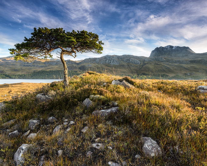 Towards Slioch at dawn, from Loch Maree, Wester Ross, Scotland