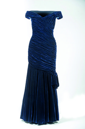 The famous blue velvet dress worn by Diana when she danced with John Travolta. Credit: SWNS.COM/Historic Royal Palaces | Travolta dress | Princess Diana style icon | Diana, her fashion story
