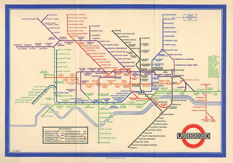 Harry Beck's Underground Map. Credit: TFL from the London Transport Museum Collection