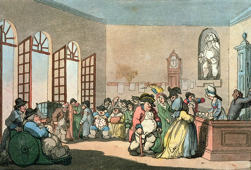 A depiction of the Pump Room in its heyday by caricaturist Thomas Rowlandson.