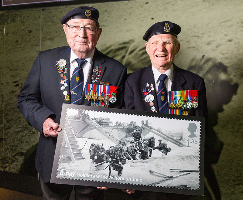 ee01bf94680c D-Day veterans Leading Stoker, Royal Navy, Fred Lee, 93 and Radar Operator  Leonard Hobbs, 94, pose with an enlarged Royal Mail D-Day commemorative  stamp at ...
