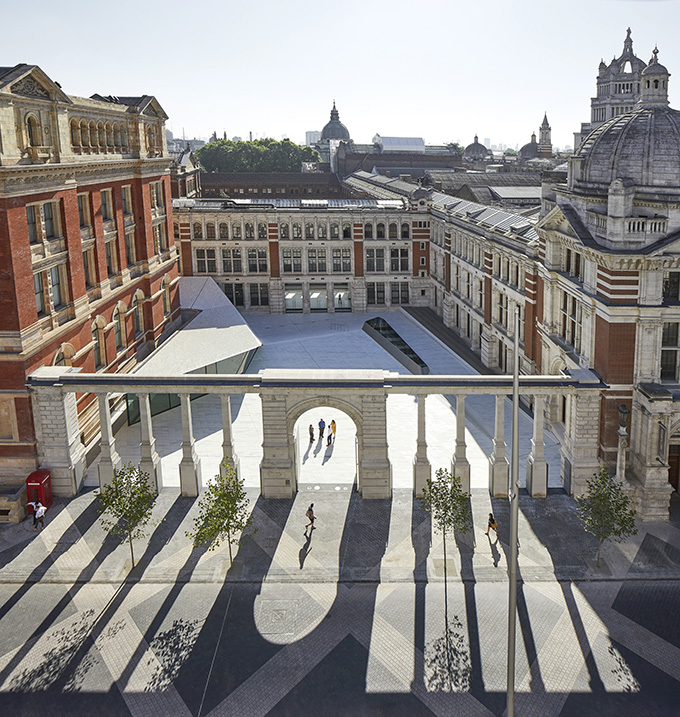 The new colonnade entrance from Exhibition Road uses the 1909 Aston Webb Screen. London's Victoria & Albert Museum