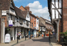 Half-timbered buildings along Friar Street, Worcester