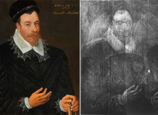 Adrian Vanson's Sir John Maitland, 1st Lord Maitland of Thirlestane (1589) and an X-ray view which reveals a portrait hidden underneath the top paint layers