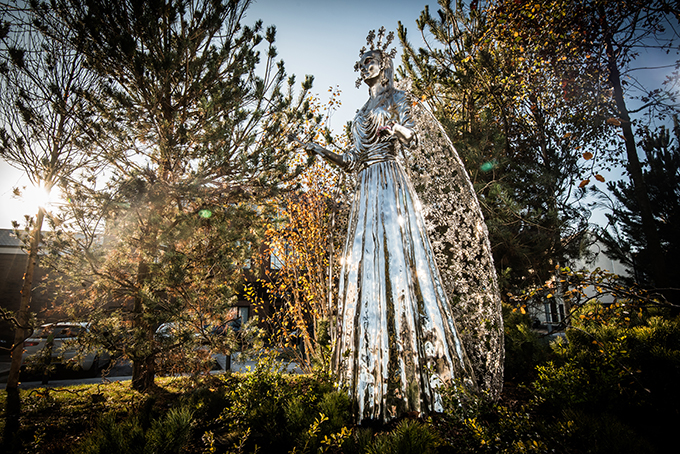 White Witch, snow queen, Jadis, Narnia, statue, CS Lewis Square, Belfast, Northern Ireland, Narnia