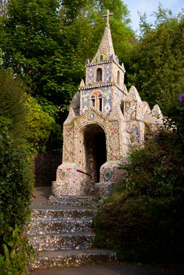 The extravagantly decorated Shell Church on Guernsey is the smallest church in the world