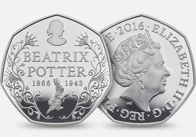 Beatrix Potter, coin, royal mint