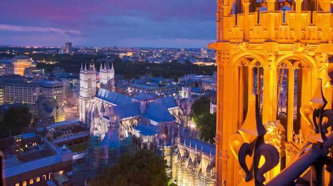 Westminster Abbey seen from Victoria Tower, Palace of Westminster
