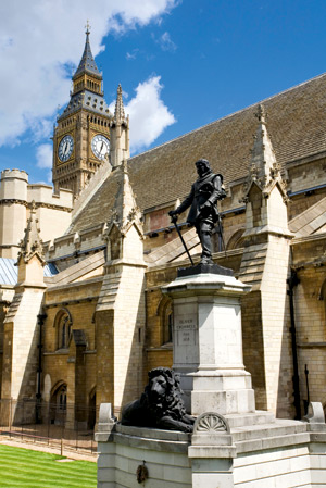 Statue of Oliver Cromwell at the Houses of Parliament in Westminster