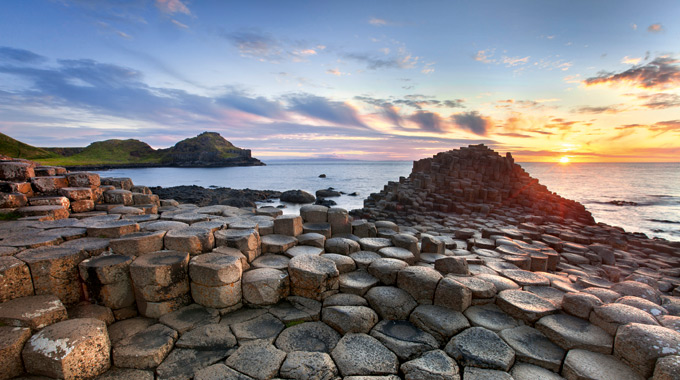 Sunset at the Giant's Causeway in Northern Ireland