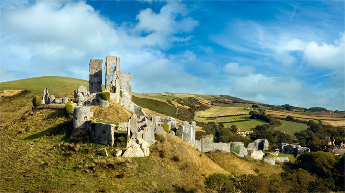 Norman ruins of Corfe Castle, Dorset