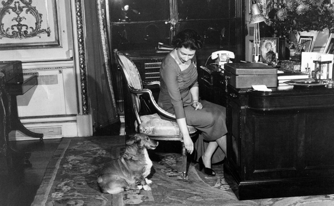 The Queen at her desk in Buckingham Palace, January 1959
