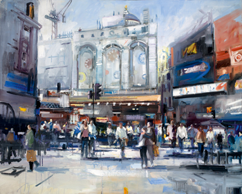 David Atkins, Piccadilly Circus in Early Spring, oil on canvas